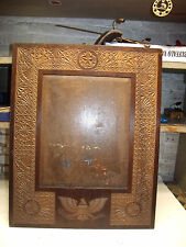 ANTIQUE WALNUT FOLK ART CARVED PICTURE FRAME PATRIOTIC BALD EAGLE AMERICAN  FLAG