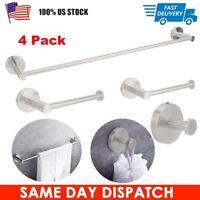4Pcs Stainless Steel Toilet Paper Towel Coat Hooks Bathroom Roll Holder Storage