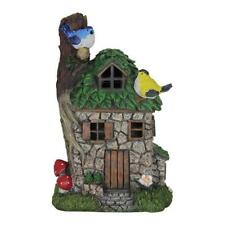 Fairy Garden Mini - Solar Stone Cottage with Leaf Roof and Birds
