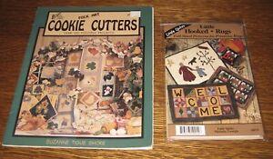 Lot of 2 Patterns: Applique Folk Art Cookie Cutters & Prim. Little Hooked Rugs