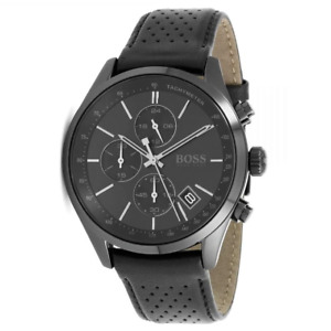 Hugo Boss HB 1513474 Grand Prix Chronograph Black Leather Band Men's Watch