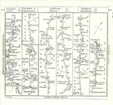 Antique map, The Roads from York to Chester & from Derby to Manchester