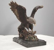 Bronze Bald Eagle Catching Fish Marble Base Lost Wax