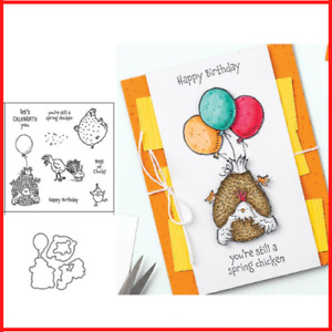 Chicken Balloon Letters Metal Cutting Dies And Rubber Stamps Scrapbooking Crafts