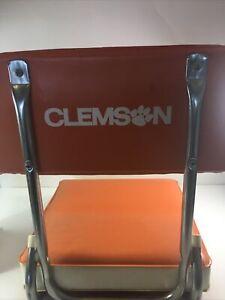 Vintage Clemson Football Folding Stadium Seat Chair Cushion Nice VTG