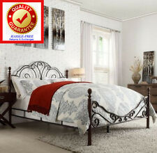 KING Size Metal Bonze Iron Bed Frame Antique Style Bedroom Furniture - Graceful