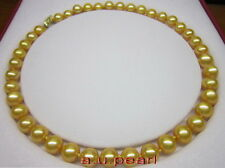 """AAAAA 18""""11-12MM NATURAL real round south sea golden pearl necklace 14K gold"""