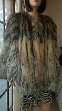 Vintage Silver Grey Golden Island Cross Crystal Fox Fur Coat Jacket Stroller M-L