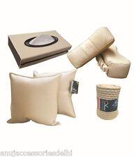 Car Vastra Designer Car Neck Rest,Cushion Rest,Steering Cover,Tissue Combo-Beige