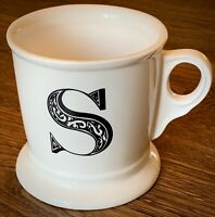 Anthropologie Monogram Initial Letter S Shaving Style Mug 12oz Cup