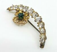Antique Edwardian Crescent moon & Flower Brooch Pin Diamond PASTE