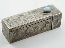 ANTIQUE EARLY 20 c. CONTINENTAL 800 STERLING CHASED MIRROR LIPSTICK COMPACT