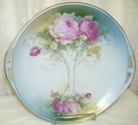 Antique Pink Roses Charger Plate Marked Germany