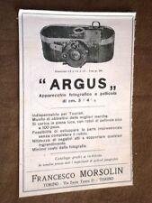 Pubblicità d'epoca per collezionisti del 1921 Macchina fotografica Argus