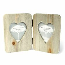 "Driftwood Double Frame Hinged 4"" x 6"" Photograph Heart Shaped Insert Drift Wood"