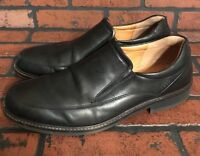 Ecco Black Leather Dress Shoe Slip On Shock Point Mens Loafers US 12-12.5 EU 46