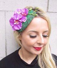 Green Purple Orchid Flower Fascinator Teardrop Races Wedding Headband Hat 3438