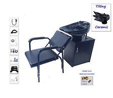 Tilting CERAMIC Shampoo Bowl Black Floor Cabinet Salon Spa Quality Shampoo Chair