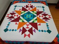 New Twin size  machine pieced and quilted  Patchwork quilt / #NJ-80