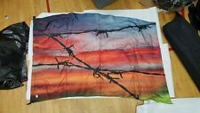 Sunset Barbed Wire Colorguard Silk