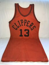 Vintage 1960's Clippers Mesh Basketball Jersey, Orange & Black #13, Small Size