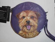 Norfolk Terrier Hand Painted Leather Wristlet Mini Purse Bag Purple Vegan