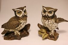 Beautiful! Pair Owl Figurines #1114 Ceramic Brown Owl on Log 5""