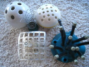 Vtg Lot 4 vintage Flower Frogs & 1 Noodle Sprinkler  REDUCED!