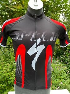 Specialized Red and black Short sleeved Polyester Cycling Jersey Full zip Medium