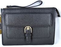 Michael Kors Cooper Pebbled Leather Medium Clutch Wristlet in Black