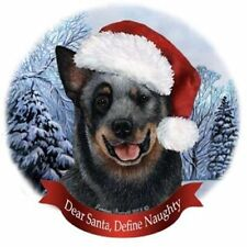 Australian Cattle Dog Santa Hat Christmas Ornament Porcelain China Usa-made