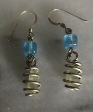 Seaglass Blue Glass Beads 925 Sterling Silver Earrings Posts
