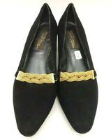 Sesto Meucci Black Leather Gold Detail Block Heel Dress Pumps Shoes Womens 7.5 M