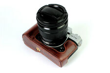 Coffee Leather Camera Bottom Case Half Cover For Fujifilm X-T20 New Xt20