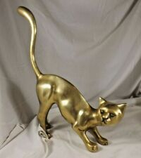 Vintage Brass Bronze Siamese Cat Statue Sculpture Art Korea Large 14� Long