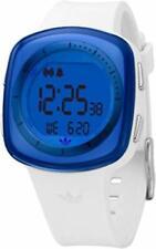 Adidas Pop Tokyo Blue Glass Digital Chrono White Rubber Band Women Watch ADH6024