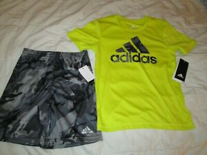 NEW 2pc School/Play OUTFIT Boys ADIDAS Athletic Neon Top+Shorts size 6 FREE SHIP