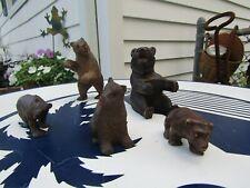 4 Vintage Hand Carved Wood Small Bear Figurines-Plus Bonus