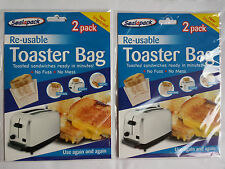 4 pack Reusable Toaster Toastie Sandwich Toast Bags Pockets Toasty Toastabags