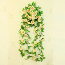 Hot Fake Silk Rose Flower Ivy Vine Hanging Garland Wedding Home Decor Artificial