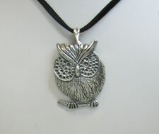 Pewter Owl Bird Pendant  Necklace and Black Cord or Chain if preferred