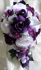 17pcs Wedding Bouquet Bridal Silk flowers PLUM PURPLE LAVENDER SILVER Cascade