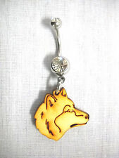On Clear Cz Belly Bar Navel Ring New Totem Wolf Spirit Profile Wooden Charm