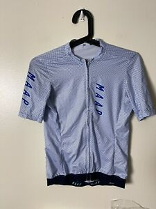 MAAP Pro-Fit Blue Dotted White Full Zip Down Women's Cycling Jersey - Small