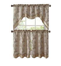 VCNY Home Audrey Complete 3 Piece Tier & Swag Kitchen Curtain Set - Beige/Gold