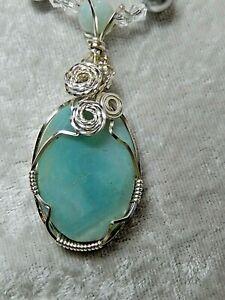 "Amazonite Wire Wrapped Swarovski Pearls 20"" Necklace by Gloria Schloss"
