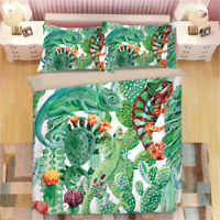 Chameleon Cactus Duvet/Doona/Quilt Cover Set Single/Double/Queen/King Size Bed