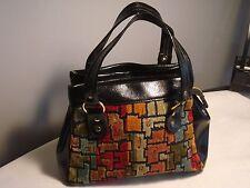 Vintage.Multi Colored & Black.Carpet Bag.Handbag