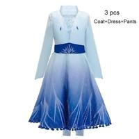 Deluxe Princess Elsa 2 Girls Fancy Dress Fairy Tale Kids Christmas Costume Hot