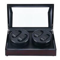 Automatic Watch Winder Carbon Fiber Jewelry Storage Case Watches 4+0 Display Box